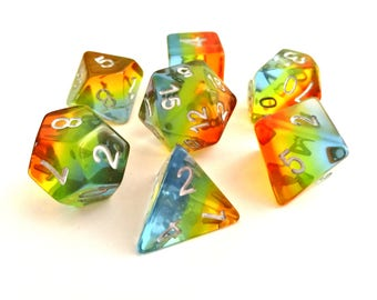 Translucent Rainbow Layered Polyhedral Dice Set, D&D, Dungeons and Dragons, RPG, Roleplaying, Multiple Colours, Pathfinder, Set of 7