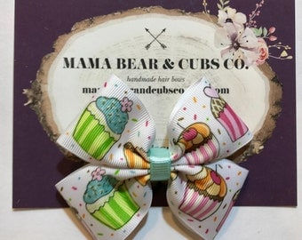 cupcake hair bow, cupcake bows, cupcake party, birthday bows, hair bows, hair clips, girls hair bows, hair bows for girls, boutique bows