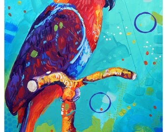 """Red Eclectus Parrot - Original colorful traditional acrylic painting on paper 8.5""""x11"""""""