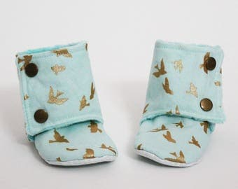 Kids slippers, Baby booties, Light blue, Metallic gold birds, Stay-on boots, Minky, Cotton, Toddler, Warm and Cozy, Boy, Cute gift idea
