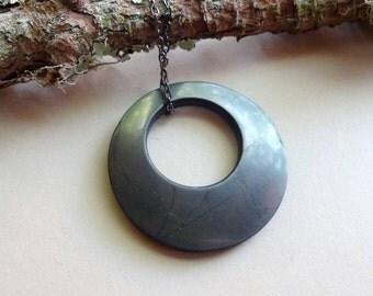 Shungite bagel pendant doughnut 48 mm /Root Chakra necklaces emf protection amulet