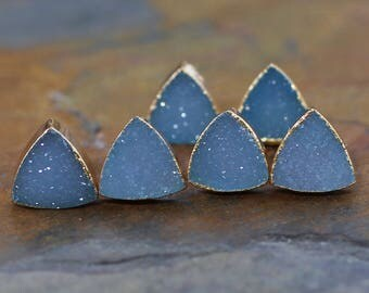 Sea Blue Druzy Triangle Gold Studs-Natural Raw Druzy Quartz Studs-8mm Sky Blue Triangle Druzy Gold Studs-Teal Druzy Crystal Gemstone Studs