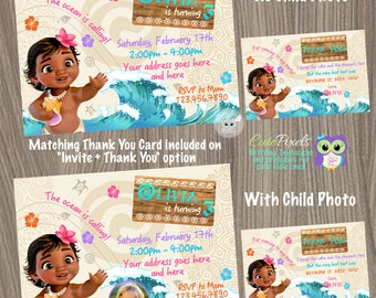 Moana Invitation, Moana Baby Invitation, Moana Birthday Invitation, Moana Birthday, Disney Moana Birthday Decor, Moana Party, Hawaiian Party