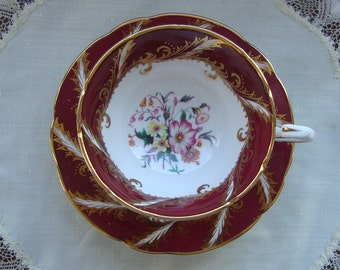 Paragon Fine Bone China England - Vintage Tea Cup and Saucer - Maroon Band with Gold Scrolls and loral Center