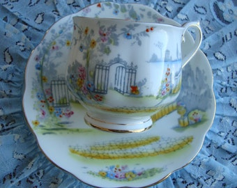 Royal Albert - Rosedale - Hand Painted Vintage Tea Cup and Saucer - Garden Scene - Bone China England