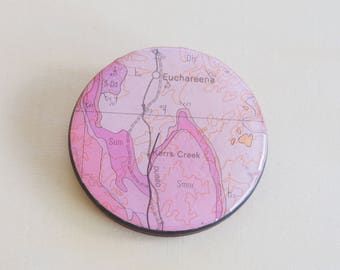 Handmade Resin Brooch Necklace | Contemporary Wearable Art | Geology Map
