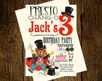 Magician Presto Birthday Party Invitations Personalized Custom Printed Set of 12 Party Invites Vintage Ecru Rabbit Hat Wand Magic
