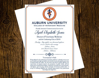 Auburn University DVM Graduation Announcements Set of 12 Personalized Custom Printed Class of 2018