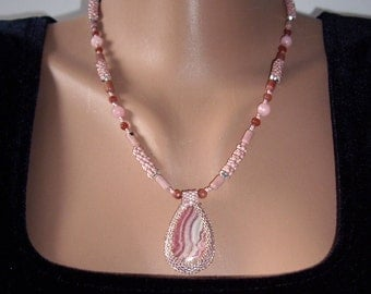 Pink necklace Birthday gift Wife gift Rhodochrosite necklace Gift for women Statement necklace Birthday necklace For her gifts Grandma gift