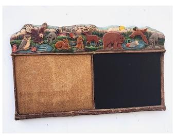 Vintage Animal Chalkboard and Corkboard Vintage Kids ChalkBoard Vintage Corkboard Chalkboard Vintage Chalkboard Corkboard