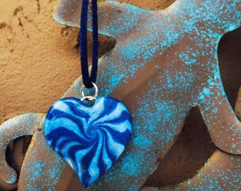 Polymer Clay Necklace, Blue Swirl Heart