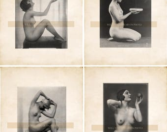 Lot of 4 Vintage Nude Models Vintage Photo Reprints