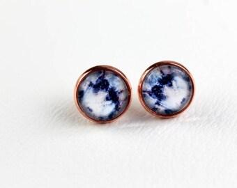Blue Quartz Earrings, Tie Dye Earrings, Marble Earrings, Blue Earrings, Galaxy Earrings, Quartz Earrings, Geode Earrings, Purple Quartz Look