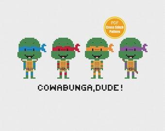 Ninja Turtles Cross stitch pattern - Teenage Mutant Ninja Turtles Cross stitch - PDF Download pattern - TMNT 90s Cross-stitch