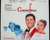 "CINDERFELLA ~ 1960 Window Card ~ ROLLED ORIGINAL 14"" x 22"" in Very Fine Condition ~ Fantastic Norman Rockwell Art! Jerry Lewis Stars!"
