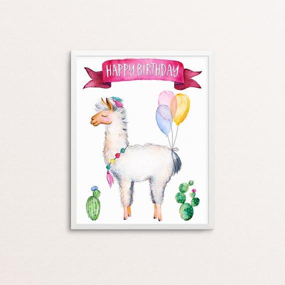 Llama Birthday Printable - Birthday Party Printable - Llama with Balloons Birthday Party Sign Printable - Instant Download
