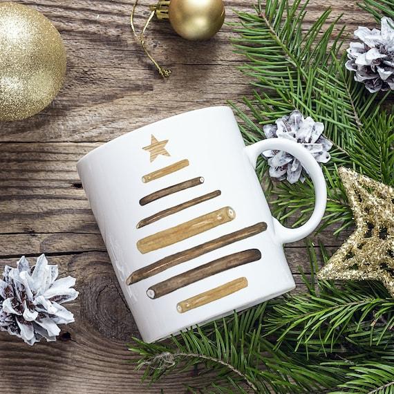 Wooden Christmas Tree Coffee Mug