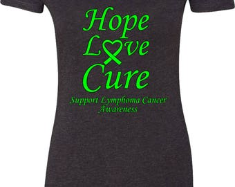 Ladies Hope Love Cure Support Lymphoma Cancer Awareness Scoop Neck Shirt HLC-SLYCA-6730