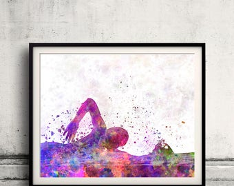 Swimming Pool 01 in watercolor - poster watercolor wall art splatter sport illustration print Glicée artistic - SKU 2628