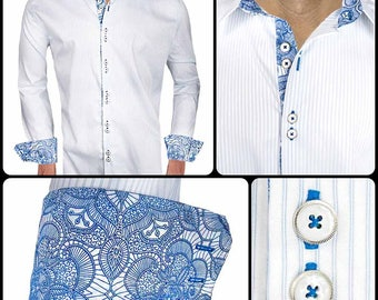 White with Blue Metallic Accent Men's Designer Dress Shirt - Made To Order in USA
