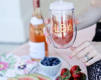 Personalized Wine Tumbler - Grey, Monogram Wine Gift, Bridesmaid Cup, Bachelorette Gift, Gift for Her