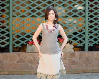 Baige-gray linen skirt, Crochet linen skirt, Folk skirt