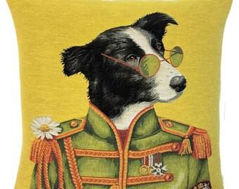 Border Collie Pillow Cover- Dog Portrait Cushion Cover -  John Lennon Lover Gift - Lennon Decor - 18x18 belgian tapestry cushion - PC-5705