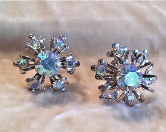 Vintage Rhinestone Screw-back Earrings