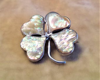 Abalone Shell, Sterling Silver 4 Leaf Clover Pin