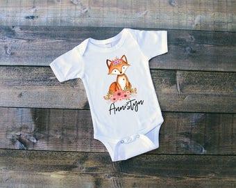 Floral Fox w/Name - Woodland Animals Onesie or T-Shirt