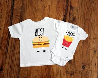 Best Friends Brother Set - Best Friends Sister Set - Hamburger and Fries