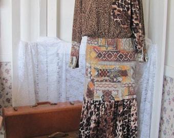 Cheetah Leopard Print Long Upcycled Dress