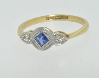 18ct yellow gold and platinum sapphire and diamond Art Deco ring size N