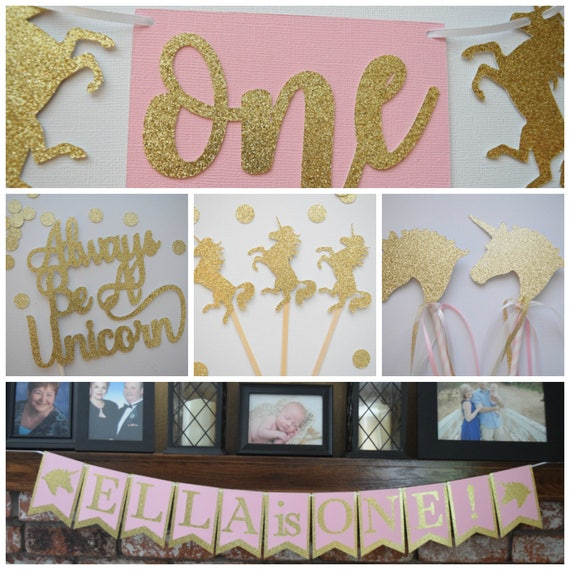 Unicorn Birthday Decor Unicorn Birthday Party Pack Pink and Gold