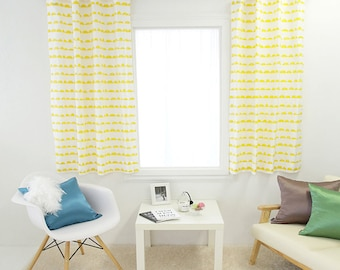 cute cloud printed yellow kids curtains 100 cotton 1pair