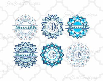 Ethnic Mandala Pattern Circle Monogram Frame, Indian Boho svg Zentangle svg dxf eps svg silhouette3 png Cricut, Silhouette cut files