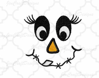 Scarecrow Face #6 Embroidery design,bow, Female hat Fall Instant Download digital file in DST, EXP, HUS, Jef, Pes, Vip and Xxx