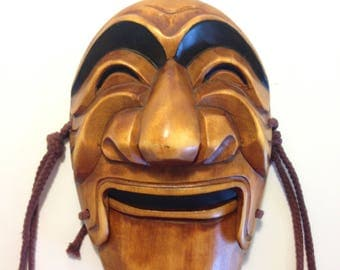 Wood Face Hand Carved Hanging Mans Face
