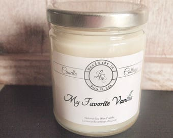 Organic Soy Candle- My Favorite Vanilla- Vegan Candle- Fall & Holiday- Scented Candle- Eco-Friendly