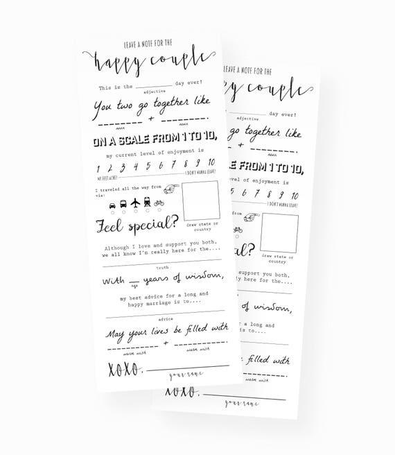 Wedding Mad Libs Wedding Keepsake Marriage Advice Cards Wedding