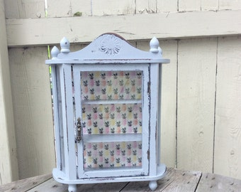 Reserved for Carol Shabby Chic Decoupaged Curio Cabinet