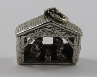 Nativity Scene Sterling Silver Vintage Charm For Bracelet
