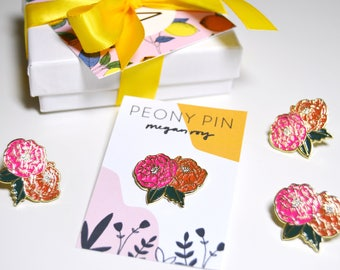 Peony Pin, Enamel, Lapel, Pink, Orange, Green, Flower, Floral
