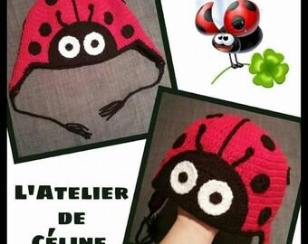 Ladybug crochet - baby or child - mixed hat or girl - baby gift or birthday