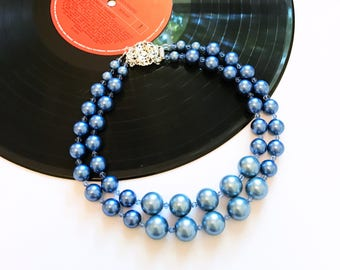 Sale - Mod Glass Bead Necklace, Glass Bead Jewellery, Blue Necklace, Mod Jewelry, Mod Necklace, Mod Beaded Necklace, Mod Clothing