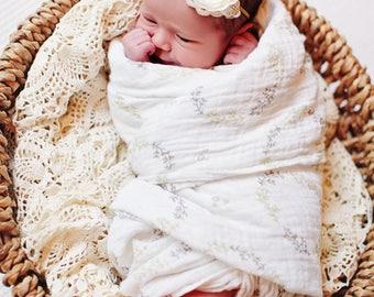 newborn headband, ivory headband, silk flower headband, neutral newborn headband