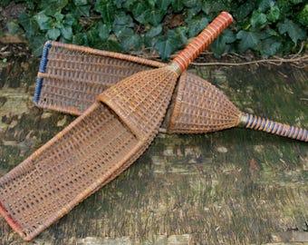 "Vintage Antique Basket Racket ""Corballo"" London 1920/Antique Wicker Bats 1920"
