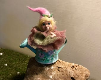 Needle felted elf, Waldorf inspired, felted fairy, flower elf, pink rose, Art doll, Doll miniature, Gift, Nature, Watering can