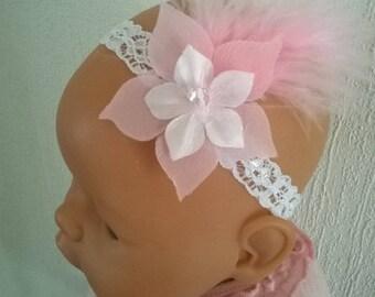 fashionable white lycra lace headband, pink/white silk baby flower girl