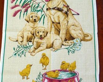 Vintage linen/cotton tea towel Guide Dogs